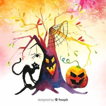 Achtergrond van waterverf de kleurrijke halloween