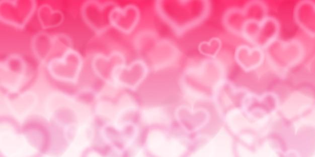 Achtergrond van wazige harten in roze kleuren. valentijnsdag illustratie