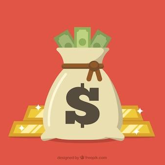 Achtergrond van zak met rekeningen en gouden ingots