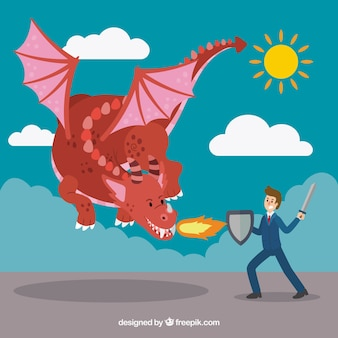 Achtergrond van zakelijke karakter vechten met draak