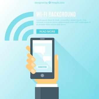 Achtergrond van zakenman met mobiele en wifi