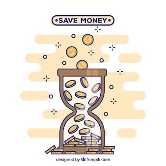 Achtergrond van zandloper met munten in lineaire stijl