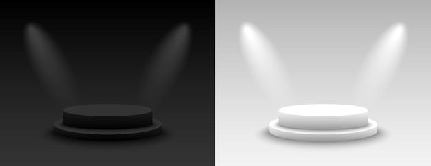 Achtergrond vector 3d donkere en lichte weergave met podium. leeg donker en licht platformvoetstuk. vector illustratie