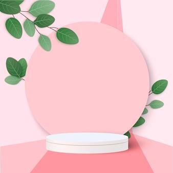 Achtergrond vector 3d-roze weergave met podium en minimale roze muur scène, minimale abstracte achtergrond 3d-rendering abstracte geometrische vorm roze pastel kleur. podium voor onderscheidingen op website in modern.