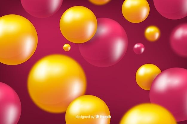 Achtergrond vloeiende realistische glanzende bollen