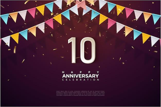 Achtergrond voor 10e verjaardag met kleurrijke vlag bovenop getallen