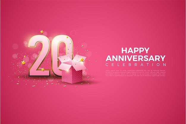Achtergrond voor 20e verjaardag met 3d-nummers en geschenkdoos op roze achtergrond