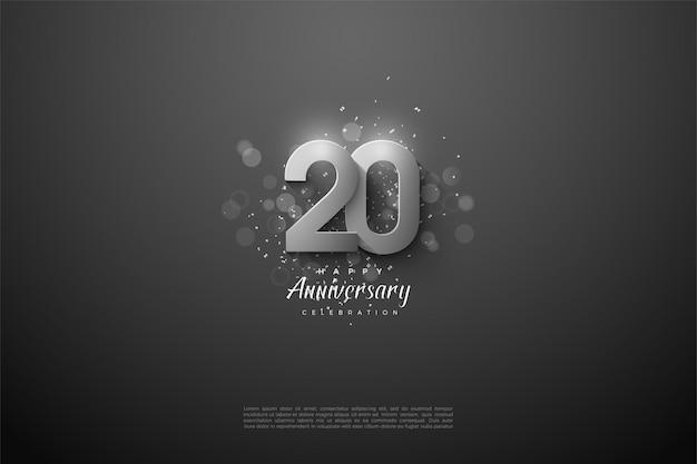 Achtergrond voor 20ste jaar met zilveren cijfers