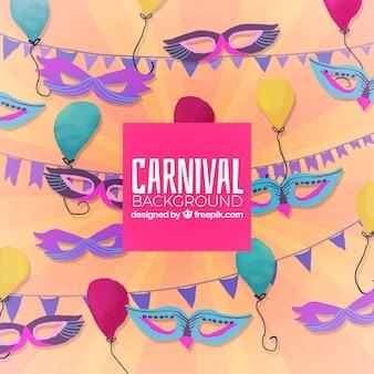 Achtergrond voor carnaval met maskers en ornamenten