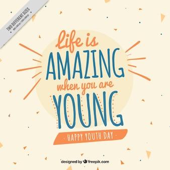 Achtergrond voor de dag van de jeugd met een mooi citaat