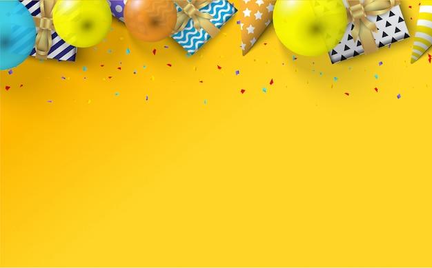 Achtergrond voor een verjaardag met illustraties van geschenkdozen, ballonnen en verjaardagshoeden op een gele achtergrond.