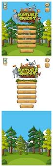 Achtergrond voor gamemenu met dieren en bomen in bos
