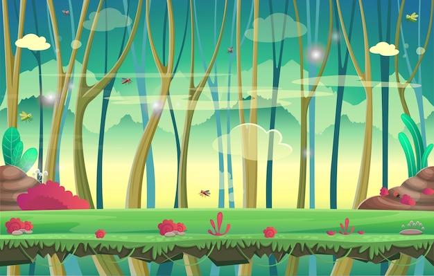 Achtergrond voor games en mobiele applicaties. woud.