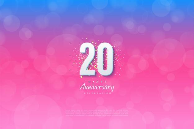 Achtergrond voor het 20ste jaar tegen een blauwe en roze achtergrond