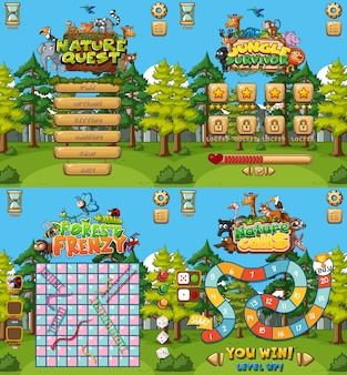 Achtergrond voor vier spellen met bosinstelling