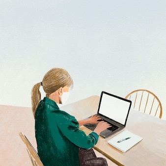 Achtergrond voor werken op afstand in de nieuwe normale kleurpotloodillustratie