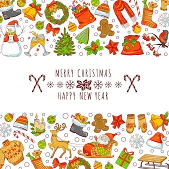 Achtergrondafbeelding voor kerstuitnodigingskaarten. vintage handgetekende illustraties met plaats voor uw tekst. nieuwjaar en kerstvakantie wenskaart