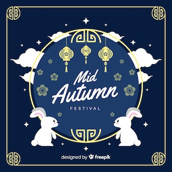 Achtergrondconcept voor medio herfstfestival in vlak ontwerp