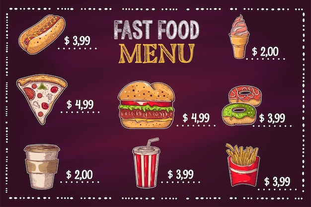 Achtergronden met een hamburger, friet en hand-drawn soda