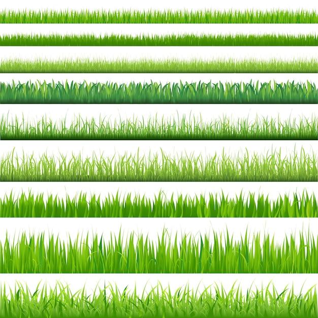 Achtergronden van groen gras, op witte achtergrond, illustratie