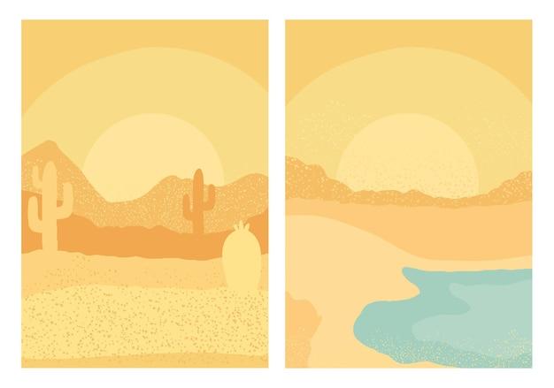 Achtergronden van scènes van woestijn en strand de abstracte landschappen