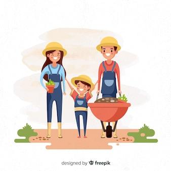 Achtergrondfamilie die in de boerderij werkt
