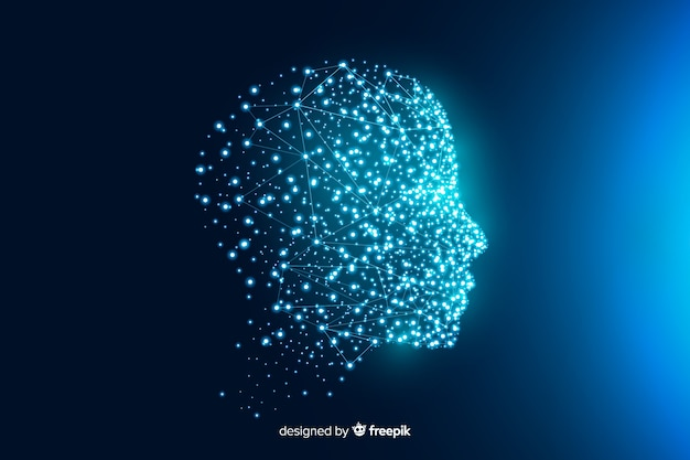 Achtergrondgezicht gemaakt van deeltjes