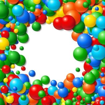 Achtergrondkader met scatterd slordige gloeiende rubberballen