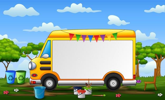Achtergrondmalplaatje met gele auto en het schilderen apparatuur