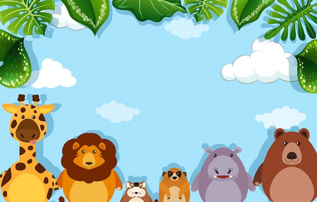 Achtergrondmalplaatje met wilde dieren