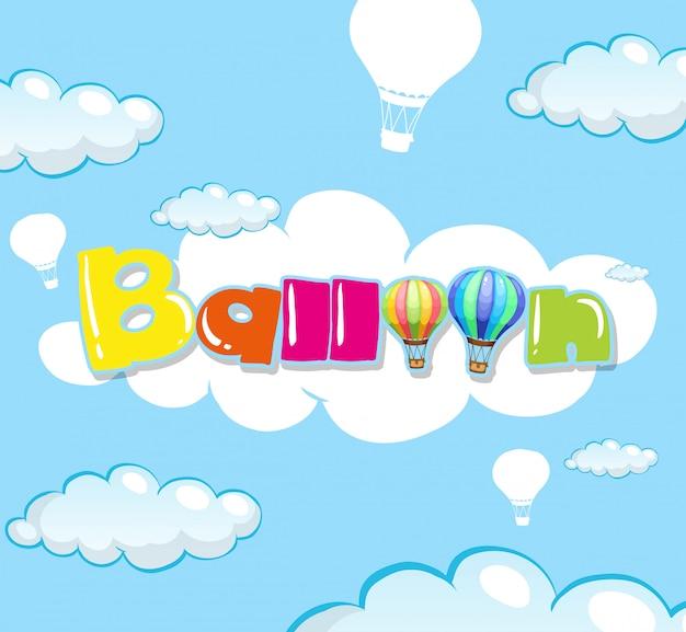Achtergrondontwerp met ballon in blauwe hemel