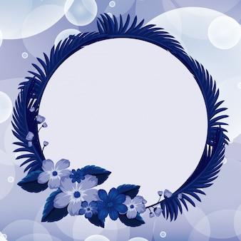Achtergrondontwerp met blauwe bloemen in rond kader