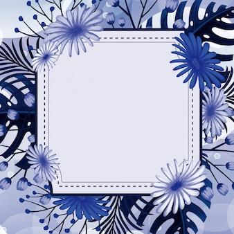Achtergrondontwerp met blauwe bloemen