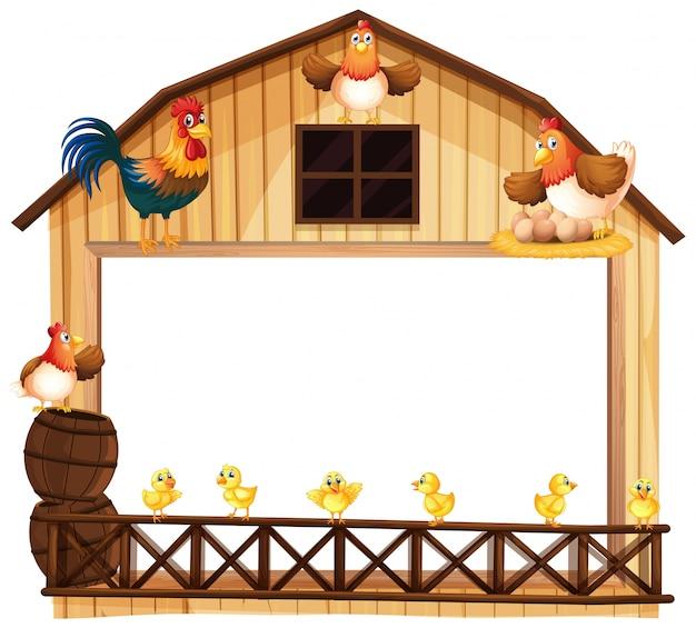Achtergrondontwerp met kippen op de schuur