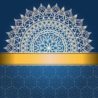 Achtergrondontwerp met mandala op blauwe en gouden lijn