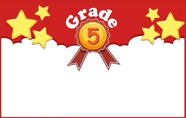 Achtergrondontwerp met sterren voor rang vijf