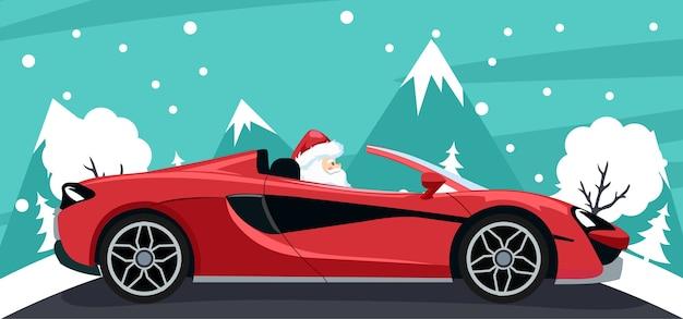 Achtergrondontwerp van de kerstman in luxe auto