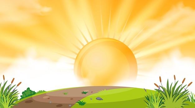 Achtergrondontwerp van landschap met zonsondergang over heuvel