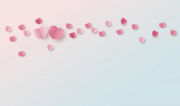 Achtergrondontwerp van papier harten met kopie ruimte