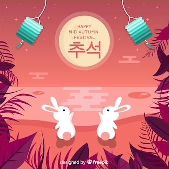 Achtergrondontwerp voor midden de herfstfestival in vlak ontwerp