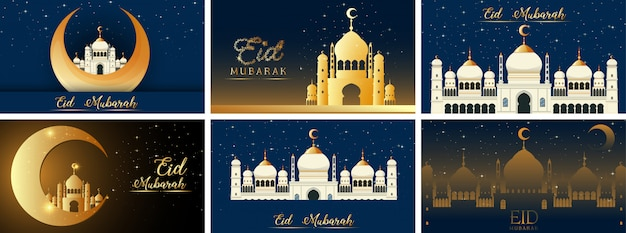 Achtergrondontwerpen voor moslimfestival eid mubarak