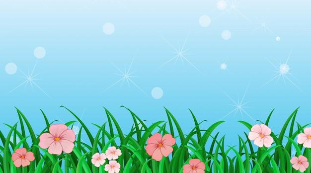 Achtergrondontwerpmalplaatje met bloemen in de tuin
