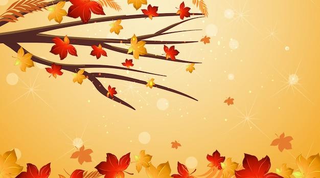 Achtergrondontwerpmalplaatje met rode bladeren op de boom