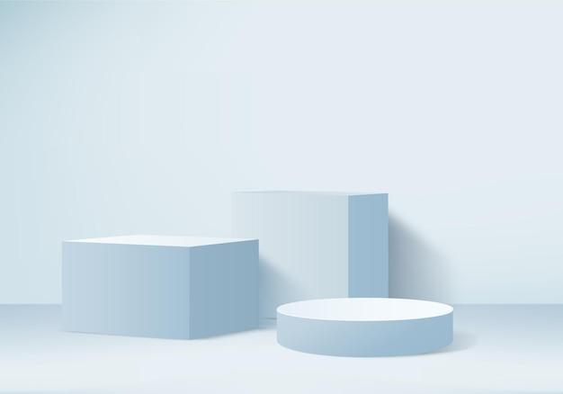 Achtergrondproducten tonen podiumscène met geometrisch platform achtergrond 3d-rendering met podiumstandaard om cosmetische producten te tonen toneelshowcase op voetstuk display blauwe studio