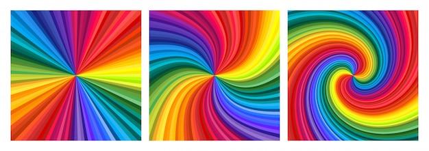 Achtergrondreeks van levendige regenboog gekleurde werveling die naar centrum verdraait.