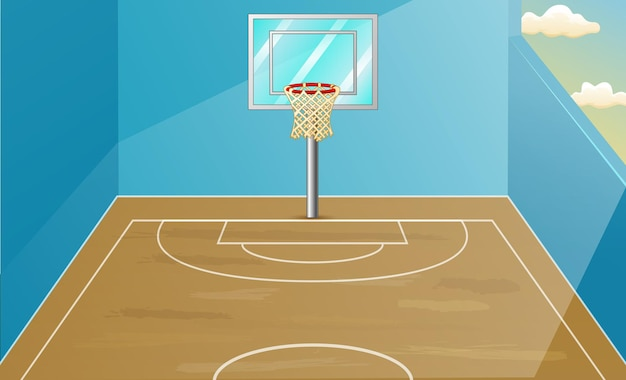 Achtergrondscène met binnenbasketbalhofillustratie