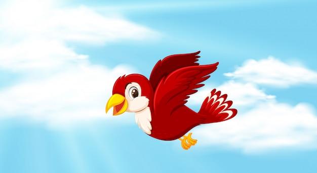 Achtergrondscène met blauwe hemel en rode vogel