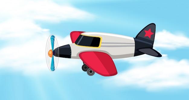 Achtergrondscène met blauwe hemel en vliegtuig