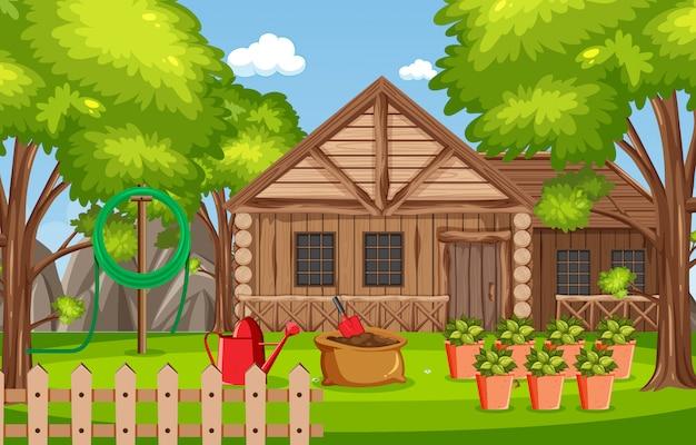 Achtergrondscène met blokhuis in het hout