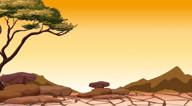 Achtergrondscène met boom in het droge land
